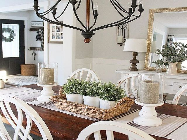 Country Style Dining Room Table Centerpieces