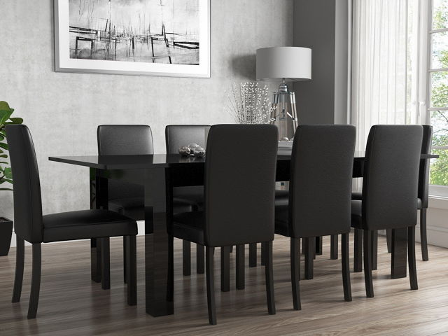 Black Dining Room Table And 8 Chairs