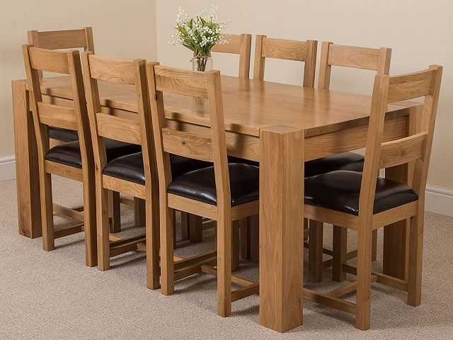 Oak Dining Room Table And 8 Chairs