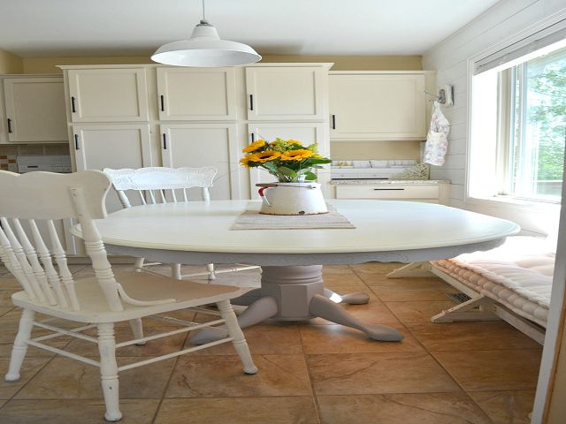 Chalk Painted Dining Room Table And Chairs