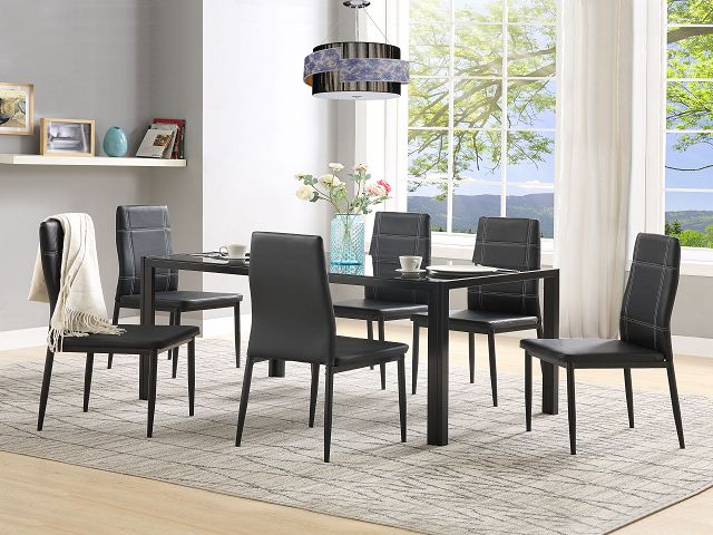 modern glass dining table set for 6